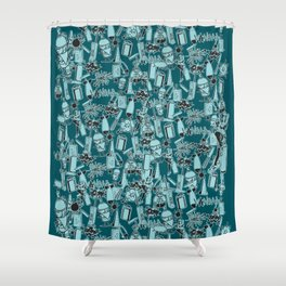 TEAL VANDAL CLASSICS Shower Curtain