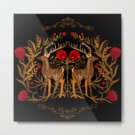 Two Stags Protecting The Dark Forest Gate Metal Print