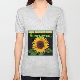 Vintage Green Orangedale Sunflower Crate Decorative Art Label Poster Unisex V-Neck