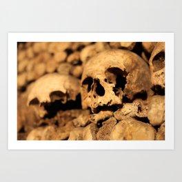 Skulls in the catacombs of Paris, France. Art Print
