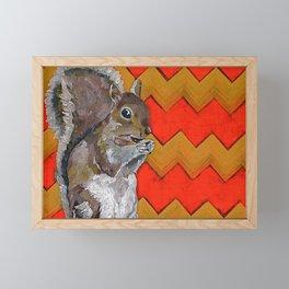 Yellow and Orange Chevron Squirrel Framed Mini Art Print