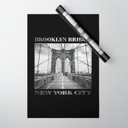 Brooklyn Bridge New York City (black & white with text on black) Wrapping Paper
