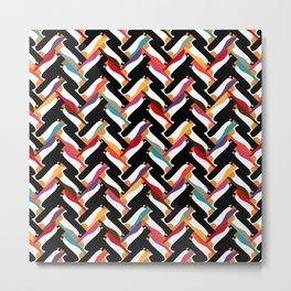 herringbone penguin Metal Print