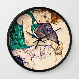 Egon Schiele - Sitting Woman with Legs Drawn Up Wall Clock