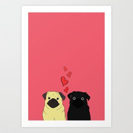 Pugs In Love Pink Art Print