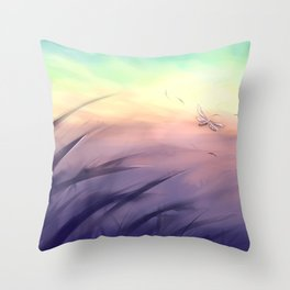 Goodmorning dragonfly Throw Pillow