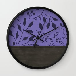 Leather and (purple) Florals Wall Clock