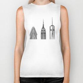 New York City Iconic Buildings-Empire State, Flatiron, One World Trade Biker Tank