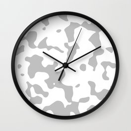 Large Spots - White and Silver Gray Wall Clock