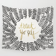 Treat Yo Self – Black & Gold Wall Tapestry