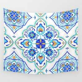 Hand Painted Moroccan Tiles - Aqua and Gold Wall Tapestry