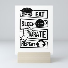 Eat Sleep Karate Repeat - Martial Arts Defence Mini Art Print