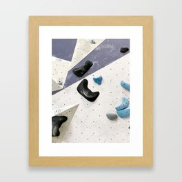 Geometric abstract free climbing bouldering holds black blue men Framed Art Print
