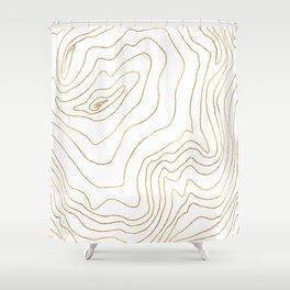 Modern Gold lines Minimalist Hand Drawn Design Shower Curtain