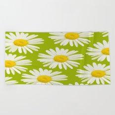 Daisies on a vivid green background - #Society6 #buyart Beach Towel