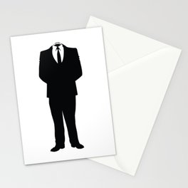 Anonymous Headless Tuxedo Suit Silhouette Man Stationery Cards