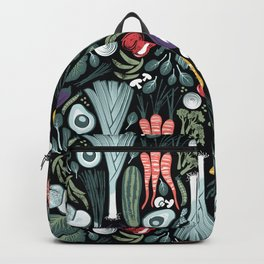 Go veggie // black background sage green mint goldenrod yellow coral and purple beet vegetables Backpack
