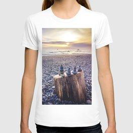 Stacked Rocks at Sunset T-shirt