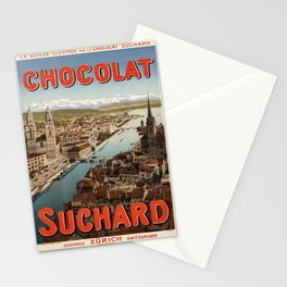 vintage placard la suisse illustree par le chocolat Stationery Cards