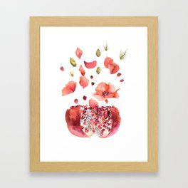 My heart is full of flowers / pomegranate and poppies Framed Art Print