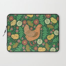 Orange hen with yellow chickens and dandelions on green background Laptop Sleeve