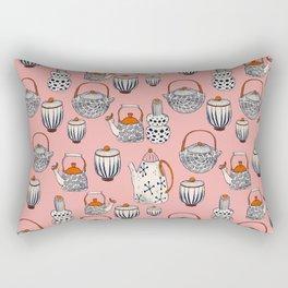TEAPOT - pattern - pink, beige, navy blue, red Rectangular Pillow