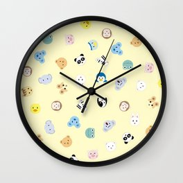 Cute Chibi animals pattern Wall Clock