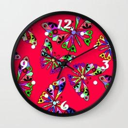 Butterflies, scarlet Wall Clock