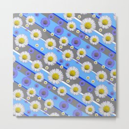DECORATIVE DIAGONAL PATTERN BLUE MODERN ART WHITE SHASTA DAISIES Metal Print