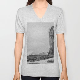 Stormy Day at the Pirate Tower Unisex V-Neck