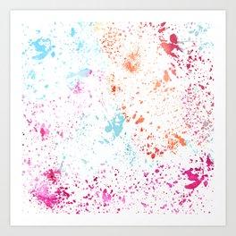 Hand painted pink teal orange watercolor paint splatters Art Print