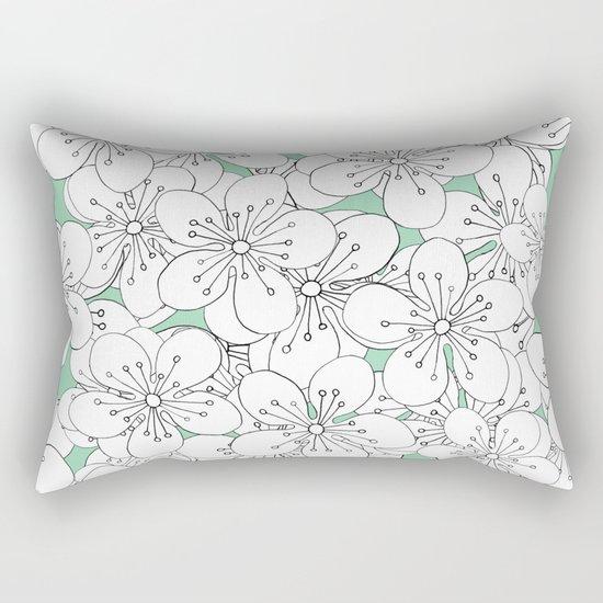 Cherry Blossom With Mint Blocks - In Memory of Mackenzie Rectangular Pillow