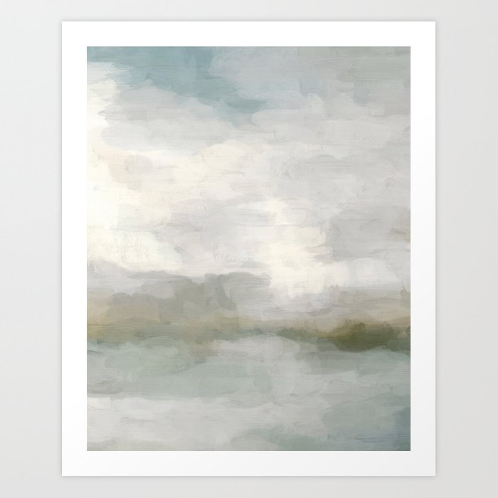Modern Abstract Painting, Light Teal, Sage Green, Gray Cloudy Weather Digital Prints Wall Art, Ocean Kunstdrucke