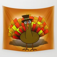 thanksgiving Wall Tapestries featuring Thanksgiving Turkey Pilgrim by Gravityx9