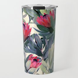 Painted Protea Pattern Travel Mug