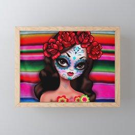 Dia De Los Muertos Girl on Sarape Framed Mini Art Print