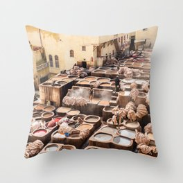 Dyeing - Chaouwara Tanneries of Fes, Morocco Throw Pillow