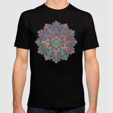 Winter Sunset Mandala in Charcoal, Mint and Melon Mens Fitted Tee Black MEDIUM