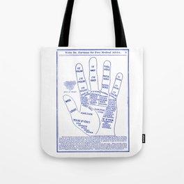 Vintage Palmistry Ad Illustration in Blue Tote Bag