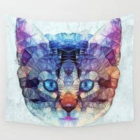 kitten Wall Tapestries featuring abstract kitten by Ancello