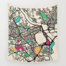 Colorful City Maps: Arlington County, Virginia Wall Tapestry