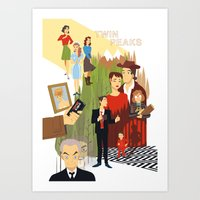 twin peaks Art Prints featuring Twin Peaks by Collectif PinUp!