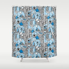 Books: Through the rabbit hole_Gray and Blue Shower Curtain