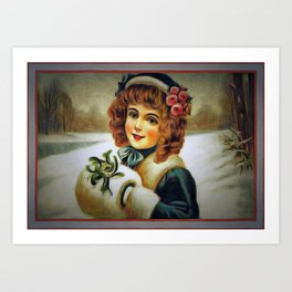 winter young lady Art Print