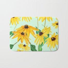 yellow sun choke flower 2 Bath Mat