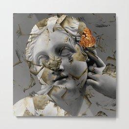 woman staue with butterflies Metal Print