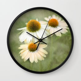 White Cone Flowers Wall Clock