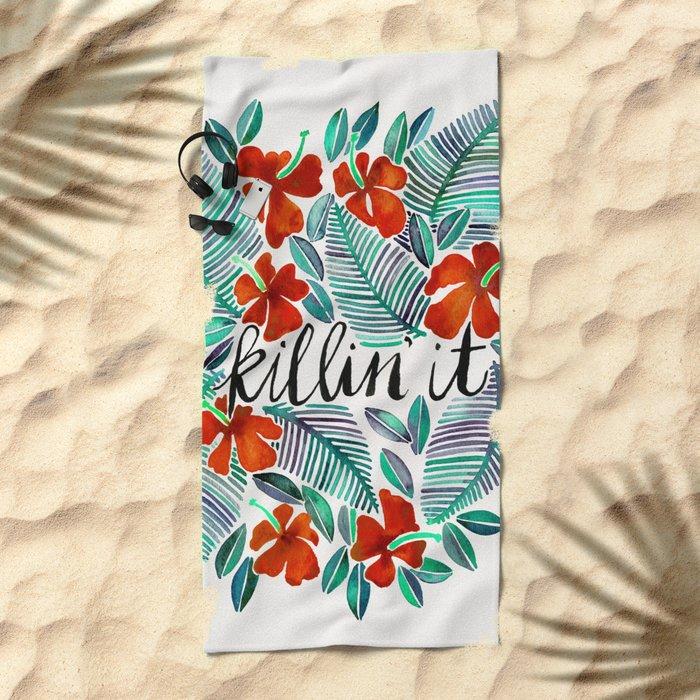 Killin' It – Tropical Red & Green Beach Towel