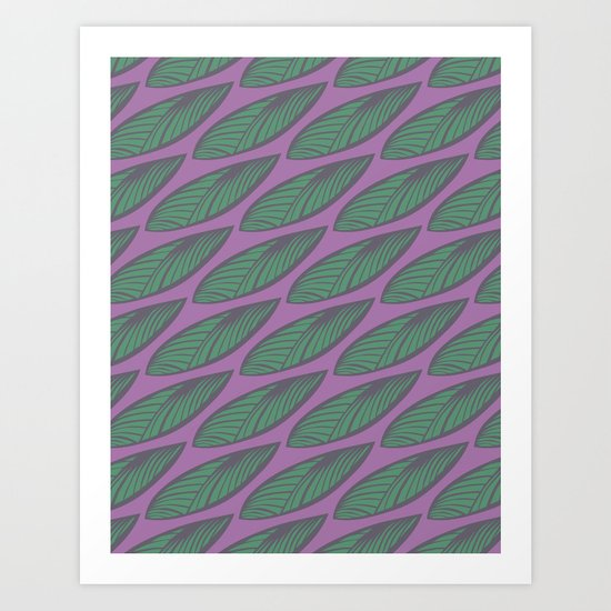 Leaves - Purple & Green Art Print