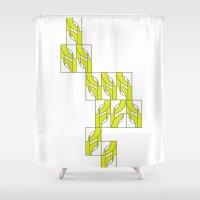 climbing Shower Curtains featuring Climbing Neon by Sandra Perez